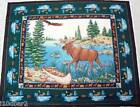 EAGLE FABRIC PANEL QUILT TOP panel moose by the lake WALLHANGING FLYING EAGLE