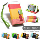 STAND WALLET LEATHER CASE COVER FOR APPLE IPHONE 4 4S 5/5S SCREEN PROTECTOR
