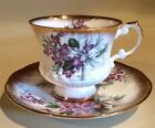 Elizabethan Purple Violets With White Ribbon Gilded Tea Cup And Saucer