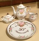 1988 Lefton 50th Anniversary Tea Pot Creamer Sugar Serving Plate Pink Roses Bell