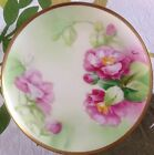 Antique Old Abbey Limoges France Hand Painted Roses Plate - signed  MANET