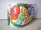 Tabletops Unlimited PESCADA Figural Fish Mug Cup Embossed Multi-Color 1995