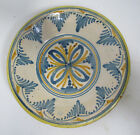 19 C Antique French? Dutch? Hand Painted Floral Faience Shallow Bowl Dish NR yqz