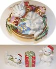 LOT OF 4 FITZ AND FLOYD KRISTMAS KITTY CHRISTMAS CAT BOWL WITH LID-HOLIDAY