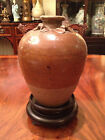 A Rare Antique Chinese Yellow Glazed Sung Jar with Stand.