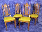 Mid Century Set 4 Four Carved Cane Chairs Side Dining Vintage Antique Modern