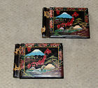 2 OLD VINTAGE BLACK LACQUER INLAY ABALONE JAPAN MAP UNUSED SCRAPBOOKS, RARE FIND