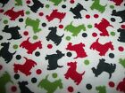 Novelty red green SCOTTIE DOG Holiday FLANNEL Cotton Quilting FABRIC 1 yd