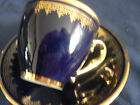 LIMOGES COBALT DEMITASSE DEMI TEA CUP AND SAUCER GOLD BAND AND HANDLE