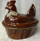 Vintage Hull Pottery USA Brown Drip Large Hen Chicken Nest Casserole Tureen Dish