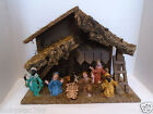Vintage 9 Piece Plastic Christmas Nativity w Manager Italy