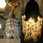 Vintage Hanging lily Brass bronze SWAG closet lighting lamp Chandelier crystal