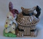 China creamer made in Japan white Rabbit and hut Hand painted vintage Rare