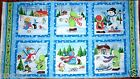 CHRISTMAS FABRIC PANEL SNOW BABIES 6 QUILTING SQUARES BTP NEW SNOMWNAN FREE SHIP