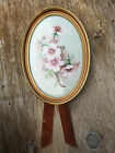Vintage hand painted porcelain plaque with dogwood