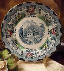 Decorative Blue Rustic Mountain Cottage Scene Made France Decorated Parry Vielle