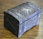 vintage small carved WOOD MUSIC BOX