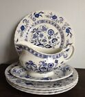 J&G Meakin Blue Nordic English Ironstone Gravy Boat / Plates