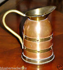 Vintage Linton Made In England Copper Pitcher w/Brass Bands