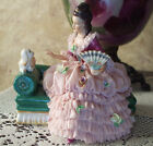 Antique Dresden Lady With Dog Pink Lace Dress VOLKSTEDT MULLER  Germany Figurine