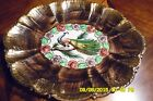 BELGIUM 304 PLATTER, H. BEQUET? HAND PAINTED GOLD WITH BEAUTIFUL PEACOCK