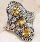 2CT Natural Citrine & Opal 925 Solid Sterling Silver Victorian Style Ring Sz 8