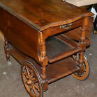 ANTIQUE DROP LEAF TABLE CART Tray Tea Bar Liquor Server Console End Side Vintage