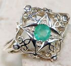 Natural Emerald & Pearl 925 Solid Sterling Silver Victorian Style Ring Sz 7