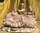 Dresden Lace German Porcelain Statue Woman Reading to 2 children Figurine Old