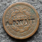 1845 Braided Hair Large Cent Counter Stamped A.D. Wait (JM