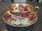 ROYAL CHELSEA TEACUP CUP SAUCER LARGE RED YELLOW ROSES GOLD FILIGREE