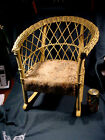CHILDS WICKER ROCKING CHAIR WITH CLOTH SEAT VERY NICE