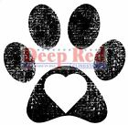 Deep Red Rubber Stamp Pawprint with a Loving Heart