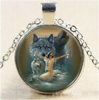 Girl and Wolf photo Cabochon Glass Tibet Silver Chain Pendant Necklace T5