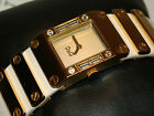 NWT D&G DOLCE GABBANA WHITE LEATHER & GOLD TONE STAINLESS WRISTWATCH DW0349 $290