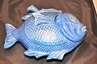 New Old Stock Olfaire Blue Porcelain Fish Tureen Ladle Lided Soup Punch Portugal