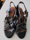 Womens Indigo by Clarks black leather slingback buckle open toe heels sz 55