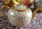 Vintage Burslem England Beige and Gold Teapot