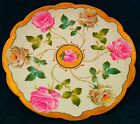 VERY RARE LIMOGES LG DECORATIVE WALL PLATE HAND PAINTED GIANT PINK ROSES