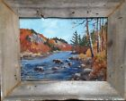 Hudson River Large Plein Air Painting Barn Board Frame Impressionist Fine Art !