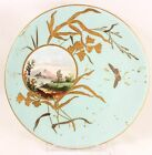 RARE HAND PAINTED ANTIQUE STAFFORDSHIRE ENGLAND CHINA GOLD ENCRUSTED ART PLATE