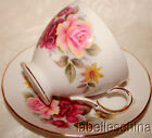 Queen Anne England Tea Cup and Saucer Pink Roses Fancy Gold Teacup Duo 3f1040