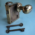 Antique Door Hardware- Surface Mount Brass Knob and Lock Set with Keys