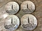 222 Fifth City Scenes New York. Dessert Plates. Porcelain. 6 Inch. Nice. New.