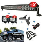 50inch 672W Curved + 4 18W LED Light Bar Mount Bracket Fit For Jeep Cherokee XJ