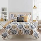 5 Pc Yellow, Grey and White, Quilt Set, Full/queen Size Bedding, By Karalai