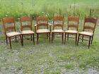 Gorgeous Set of 6 Antique Caned Oak Dining Chairs (one Master with Arms)