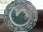 COLONIAL TIMES BY CROWN DUCAL, ENGLAND GREEN AND WHITE MOUNT VERNON PLATE