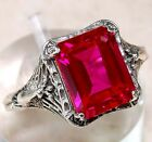 3CT Ruby 925 Solid Sterling Silver Victorian Style Filigree Peacock Ring Sz 6