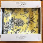 New 222 Fifth Set of 4 ADELAIDE Yellow Bird Toile SALAD Plates